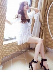 腿模柳婷婷白色蕾丝纯情迷人
