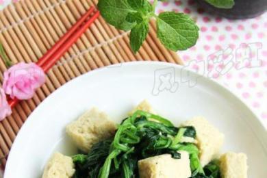 菠菜炖冻豆腐1