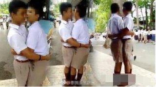 泰国两个爱打架的男生,被老师处罚拥吻100次,老师:要学会爱护同学